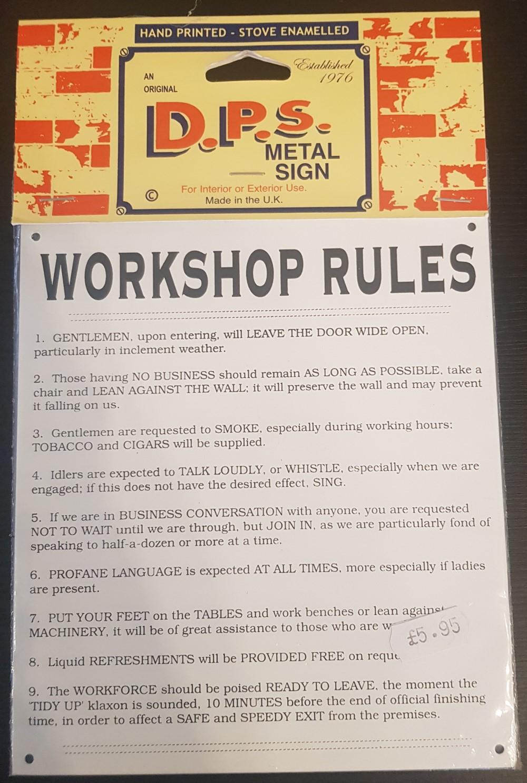 DPS Sign 'Workshop Rules'